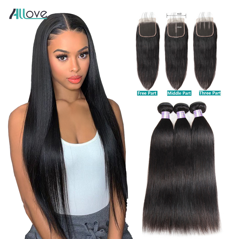 Peruvian Straight Hair Bundles With Closure Human Hair 3 Bundles With Closure  Non-Remy Allove Hair Bundles And Closure