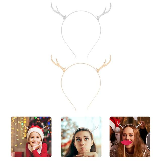 2pcs Reindeer Antler Christmas Hair Clasp Xmas Hair Hoop Decorative Headpiece|Christmas Headbands|   -