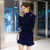 2019 winter new Korean ruffled Wrapped hip bottom knit mini dress fashion elegant long sleeve women dresses