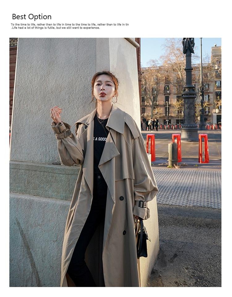 Hecf045e604d742518b7014ec4a66b10cf Korean Style Loose Oversized X-Long Women's Trench Coat Double-Breasted Belted Lady Cloak Windbreaker Spring Fall Outerwear Grey