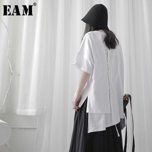 Женская Асимметричная футболка EAM, белая футболка с круглым вырезом и коротким рукавом, большие размеры, весна-лето 2020, 1T117