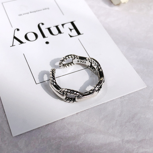 Retro Neutral Multi-layer Smiley Face Wide Ring for Women Antique Silver Color Opening Student Ring Hip-hop Punk Trend New 2020 5
