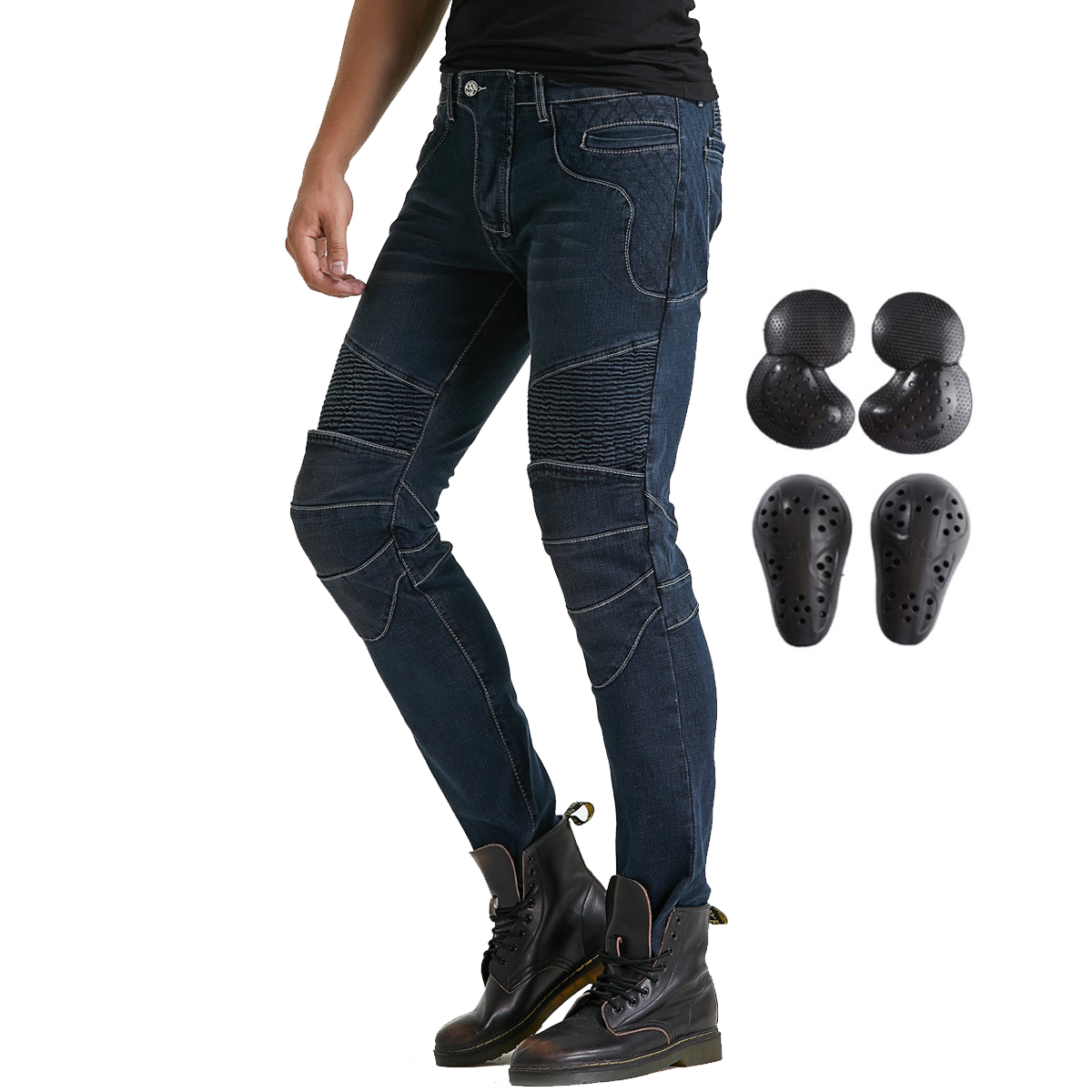 Mens CE Armoured Motorcycle Biker Leather Trousers Motorbike Jeans Pants Black