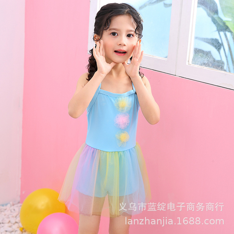 New Products Girls Little Girl One-piece Triangular Bathing Suit Colorful Gauze Cute Skirt Baby Hot Springs Swimwear
