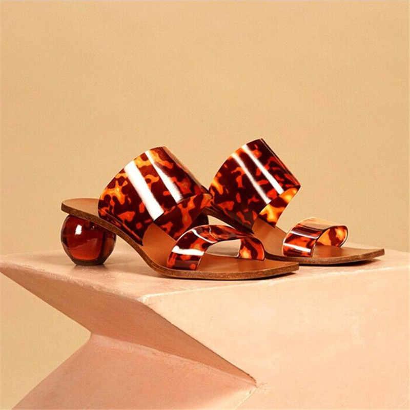 2020 yeni top topuk tasarım kadın terlik kare ayak PVC katır yaz gladyatör sandalet plaj slaytlar kadın açık topuklu