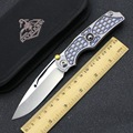 KEVIN JOHN Reeve TiLock Elemental Folding Knife M390 blade Stonewash Titanium handle Outdoor camping hunting knives EDC tool