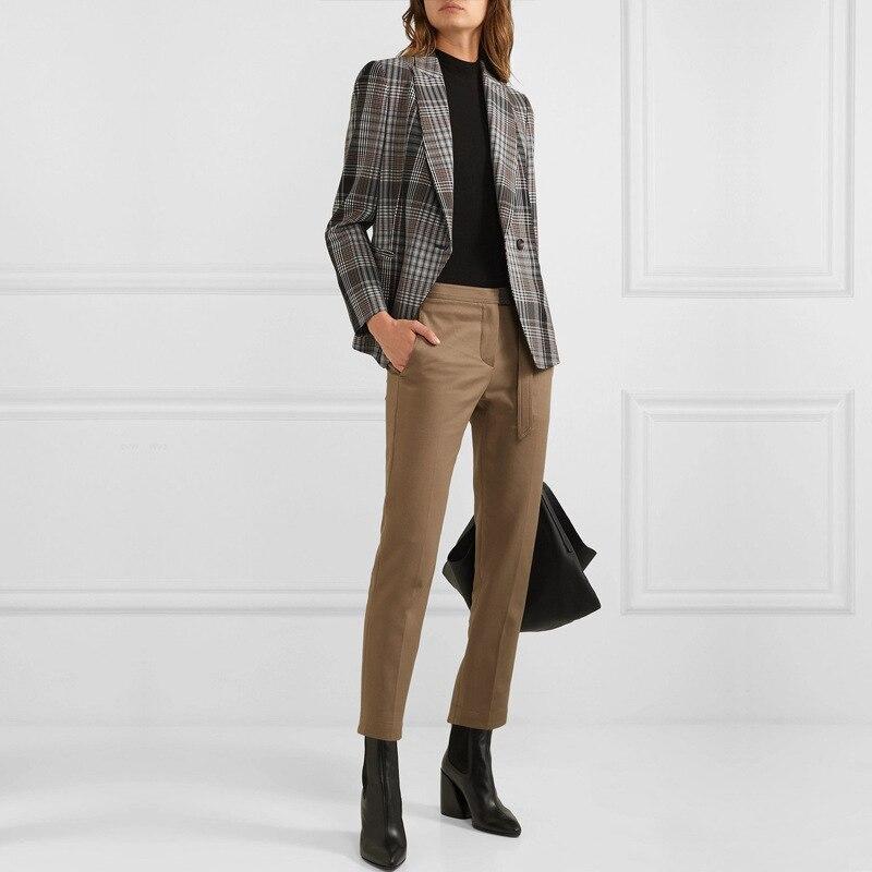 2020 otoño nuevo Retro A Buckle estilo Hong Kong suelto Plaid traje de manga larga abrigo botón Plaid ropa mujer Chaquetas abrigo Mujer