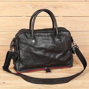 Image 3 - Leather Handbag Shoulder Messenger Bag Laptop Briefcase Leisure Travel Bag Crossbody Men Computer Bags Mens First Layer Cowhide