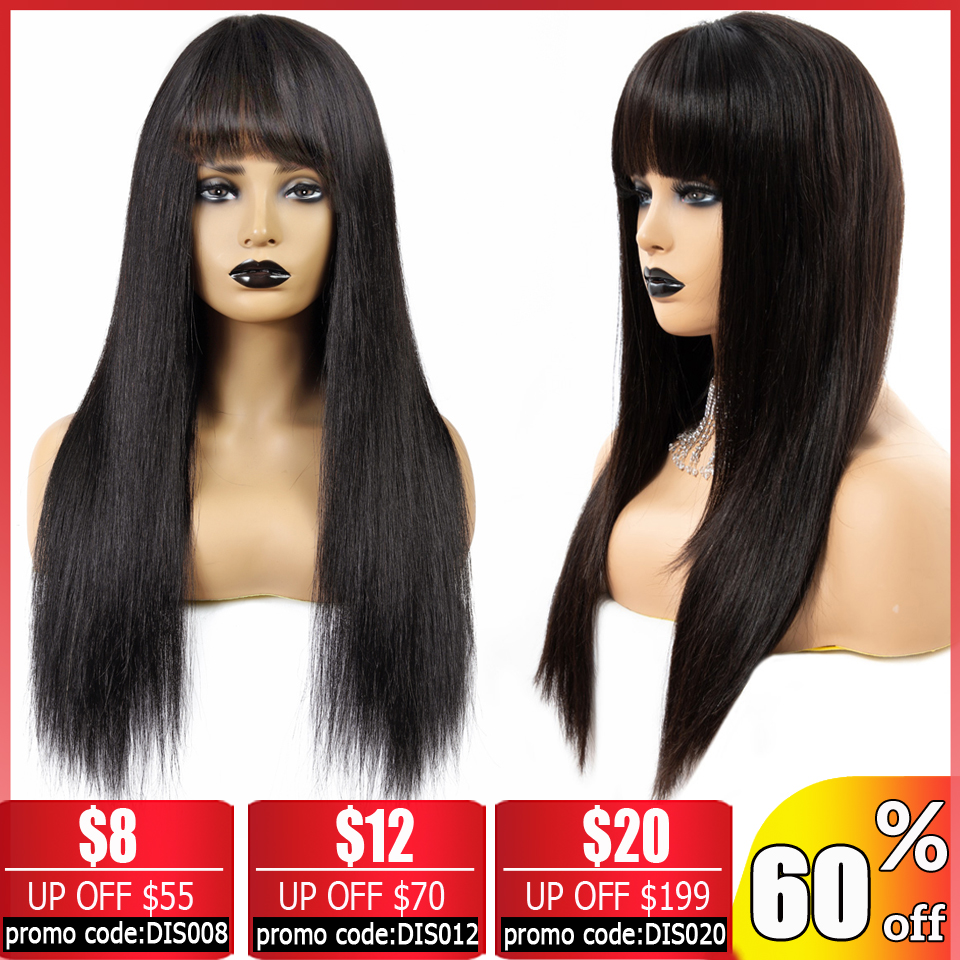 BEAUTY GRACE Brazilian Straight Wigs With Bangs Long And Bob Short Human Hair Wigs For Women Non-Remy Machine Made 150% Density