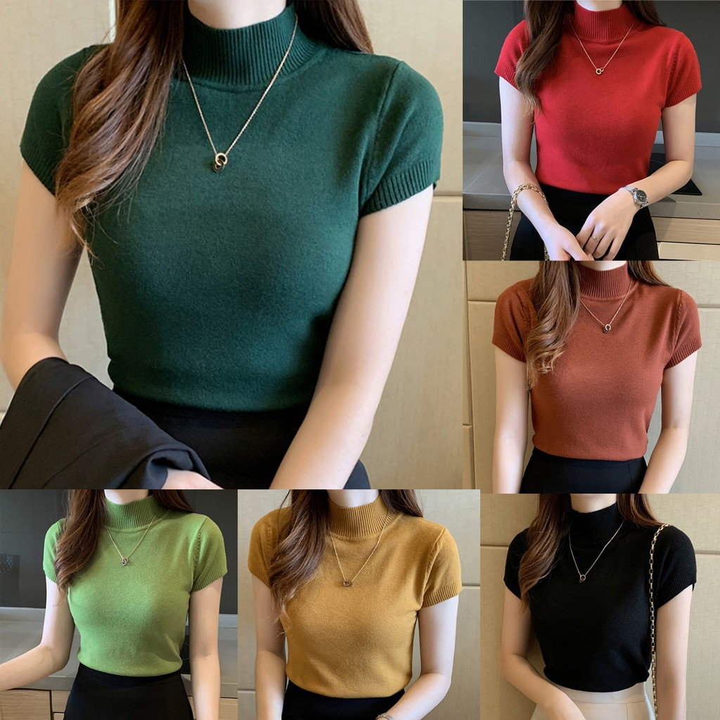 25# Female T-shirt Women Basic Classic Summer Loose Solid Short Sleeve Cotton Elegant Ladies Sexy Femme T-shirts Майка Женская 2