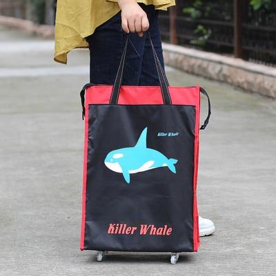 Портативная тележка для продуктов Женская Мужская сумка складная сумка тележка Сумка на колесах купить Сумка для овощей хозяйственная сумка трейлер XYLOBHDG - Цвет: A