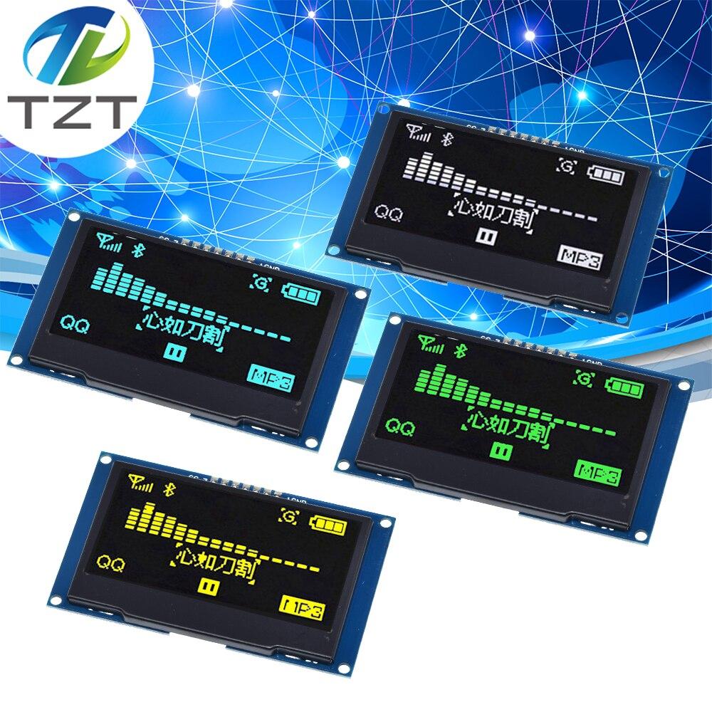 "Tzt 2.4 ""2.42 polegada 128x64 oled módulo de exibição lcd ssd1309 12864 7 pinos spi/iic i2c interface serial para arduino uno r3 c51"