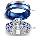 Парные кольца-мужские 8 мм синие кольца из нержавеющей стали женское синее кольцо 2.0ct сердце Кристалл Свадебные обручальные ювелирные издел...