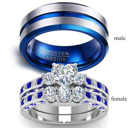 Couple Rings - Men's 8mm Blue Stainless Stee Ring Women's Blue Ring 2.0ct Heart Crystal Bridal Wedding Engagement Jewelry Gift