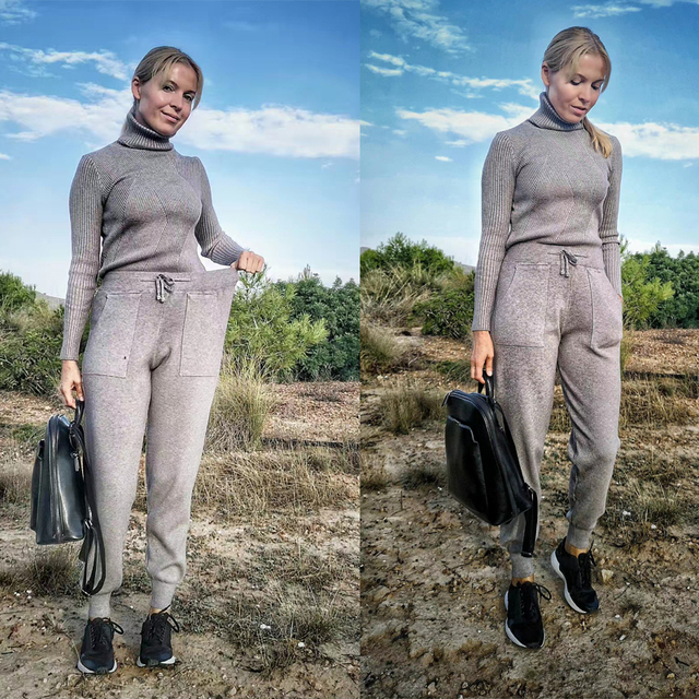 Knitted Tracksuit Sweater Casual Suit 2 Piece Set Pants Sporting Suit 2
