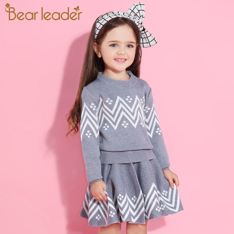 Hecf0f05ed48b43b3b1941d1f8c199dc96 Bear Leader Girls Dress 2019 Winter Geometric Pattern Dress Long Sleeve Girls Clothes Top Coat+ Tutu Dress Sweater Knitwear 2pcs