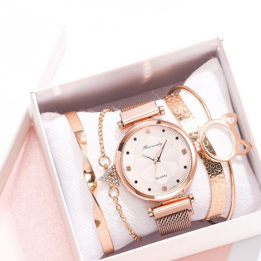 Conjunto de 5 uds. De relojes de lujo con hebilla magnética para Mujer, pulsera de cuarzo con diamantes de imitación y flores
