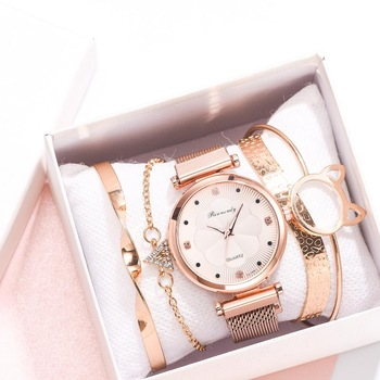 Fashion 5pcs Set Women Watches Luxury Magnet Buckle Flower Rhinestone Watch Ladies Quartz Wrist Watch Bracelet Set Reloj Mujer ibso hit color watches for female fashion cut glass design women quartz watch ladies magnet buckle wrist watches montre femme