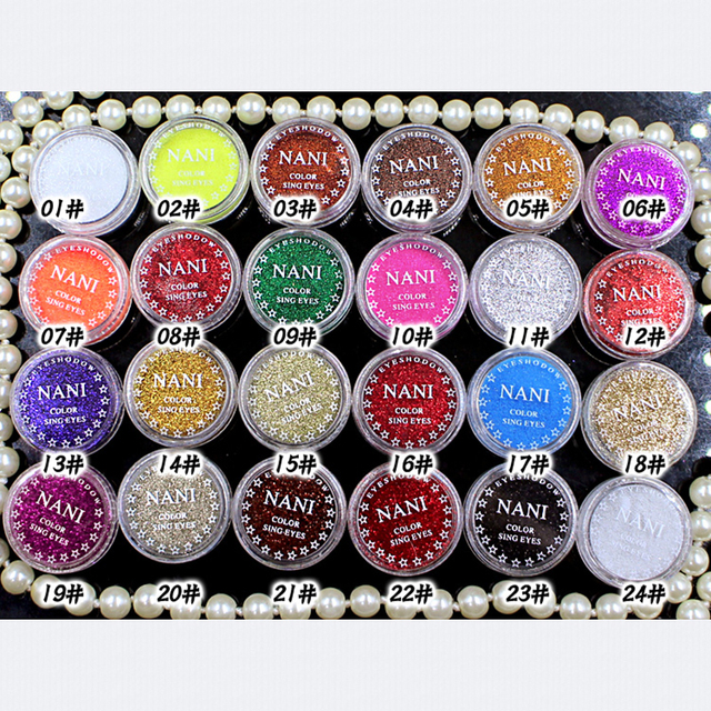 NANI 24 Colors Eye Shadow Monochrome Eye Shadow Powder Glitter + Eye Prime Shimmer Diamond Face Body Shiny Skin Pearl Powder 5
