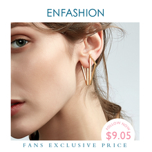 Enfashion Wholesale Double Triangle Earrings Stud Earring Gold Plated Earings Stainless Steel Earrings For Women Jewelry