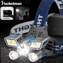 Red/Blue/White Light LED Headlamp L2+ 2*T6 LED Headlight USB Rechargeable Head Light with Tail Warning Light 9 Modes Water