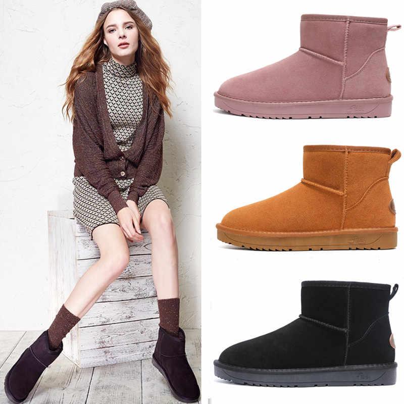 Sepatu Baru Wanita 2019 Sepatu Bot Salju Musim Dingin Kulit Sapi Kulit Asli Bulu Mewah Tahan Air Non-Slip Karet Platform Femal sepatu Wanita