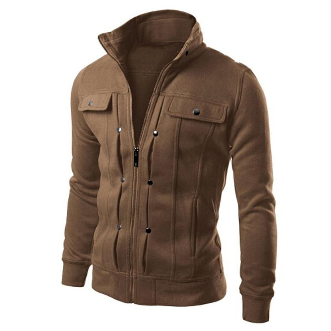 Men Jacket Slim Designed Lapel Cardigan Coat Jacket Sweatshirt Tops Outerwear Plus Size Casual Mens Jacket #Zer