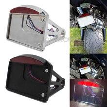 Soporte para matrícula LED de aluminio cromado/Negro, marco de freno trasero para Harley Customs Choppers