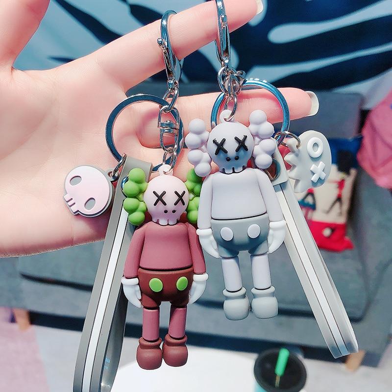 PVC Kids Keyring Cartoon Key Chain Woman Keychain Anime Man Key Ring Girls Personality Cute Gray Sleutelhanger Sesame Street