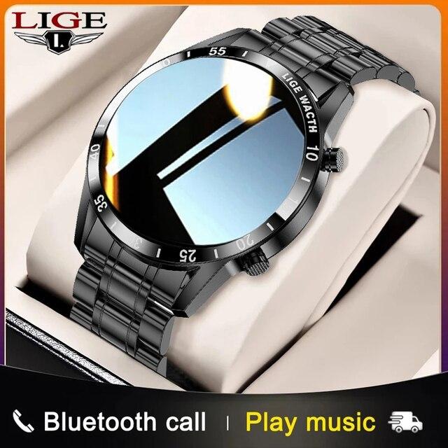 LIGE 2021 새로운 스마트 워치 남자 블루투스 전화 안 드 로이드에 대 한 IP67 방수 전체 터치 스크린 Smartwatch IOS 스포츠 휘트니스 추적기