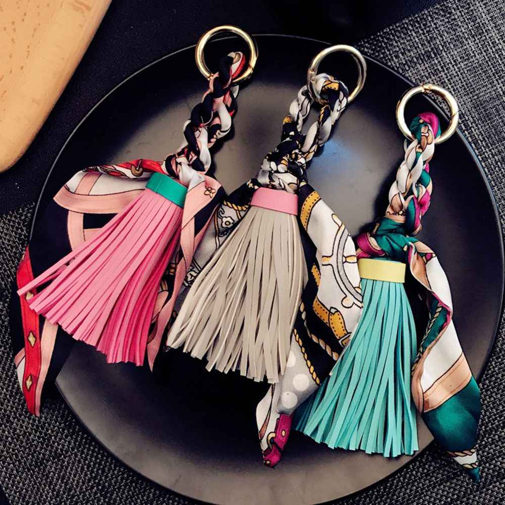 Scarves Tassel Key Chain Exquisite Leather Tassel with Silk Scarves Keyring Women Bag Handbag Charm Pendant Decoration
