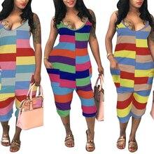 Fadzeco Women Jumpsuit Stripe Print Spaghetti Straps Print Midi Length Rompers One Piece Jumpsuit Playsuit