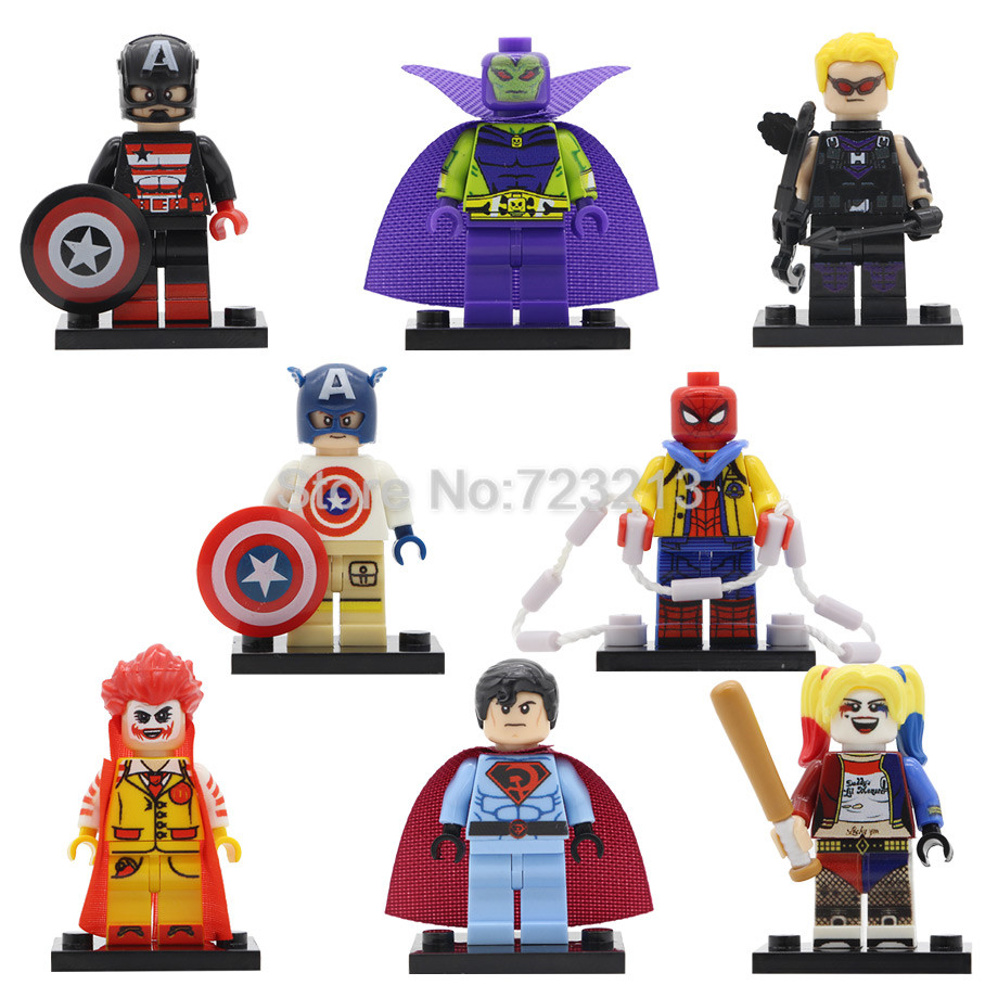 Captain Soviet America Super Hero Figure Spider Man Joker Harle Quinn Hawkeye Building Block Models Brick Kit Toys Legoing