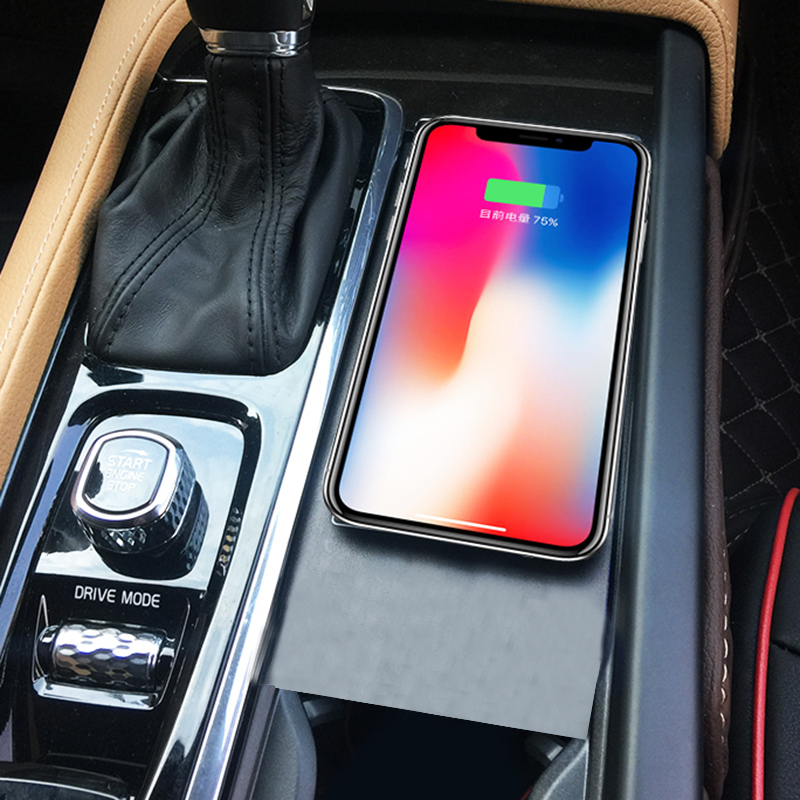 For Volvo XC60 S90 V90 XC90 2018 2019 car QI wireless charging phone charger charging plate phone holder accessories for iPhone