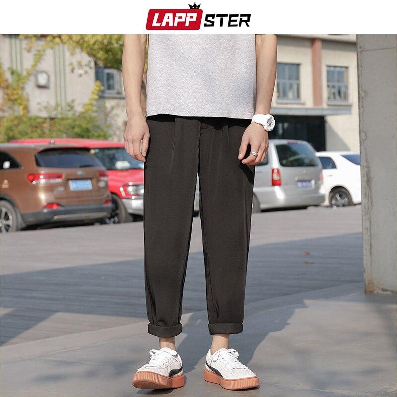 LAPPSTER Mens Korean Streetwear Joggers Pants 2020 Overalls Mens Casual Black Ankel Length Pants Women Chic Harajuku Harem Pants