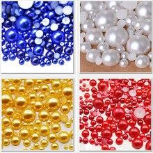 Mix Größen Plain Farbe Halb Runde Flache rückseite perlen 2 3 4 5 6 8 10 12mm imitation perlen zu DIY Nagel schmuck Zubehör