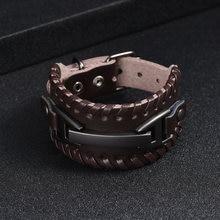 Мужской браслет из воловьей кожи в стиле панк мужской с регулируемым