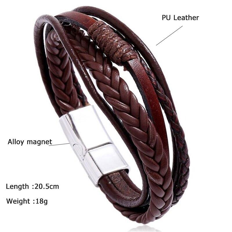 Bracelet en cuir fait à la main tressé  5