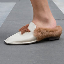 Women's Fashion Mule Flats Shoes Square Toe Backless Angola Fur Slipper Slip On Loafer Lazy shoes