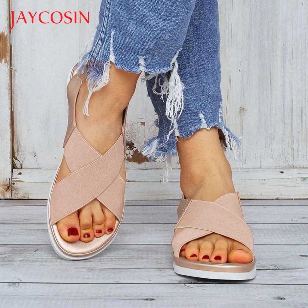 Jaycosin Sndals Women Shoes Soft genuine women casual summer beach shoes female plus size 36-42 sandal female flat sandalias 12 1