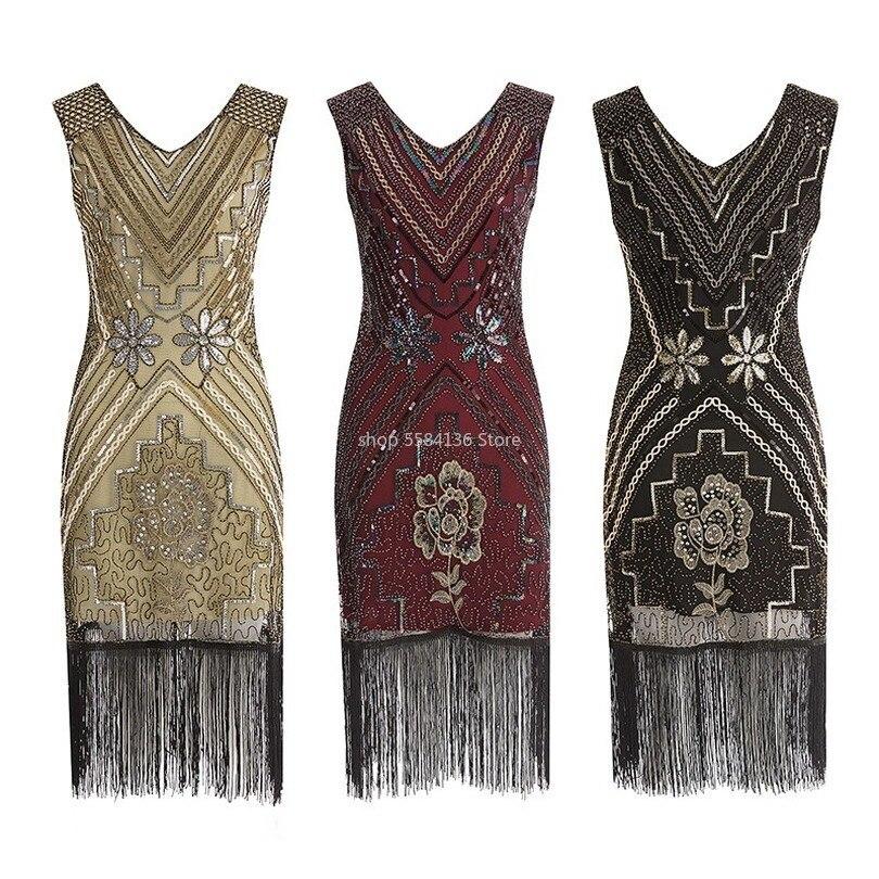 1920s great gatsby bling vestido de lantejoulas com miçangas decote em v profundo franjas flapper vestidos retro preto festa senhora vestido para mulher