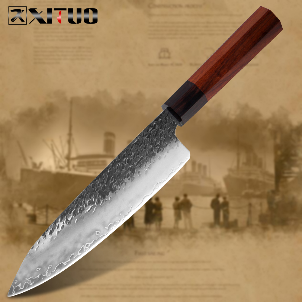 XITUO Chef Knife Three Layer Composite Steel Handmade Forged Sharp Cleaver Boning Santoku Kitchen Cooking Tools Octagonal Handle|Kitchen Knives|   - AliExpress
