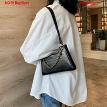 Bolsa retro casual feminina totes ombro sacos de couro feminino cor sólida corrente bolsa para senhora meninas sac de luxe femme