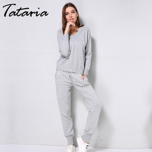 Image 4 - Tataria Women Sweater Suits and Set Autumn Winter Knitted Tracksuit Women 2 Piece Sweater Suit Pants Clothing Sets Sporting Suit