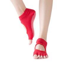 Chaussettes de Yoga professionnelles pour femmes, antidérapantes, avec poignées, orteils ouverts et cou-de-pied, idéales pour Pilates, danse de Ballet