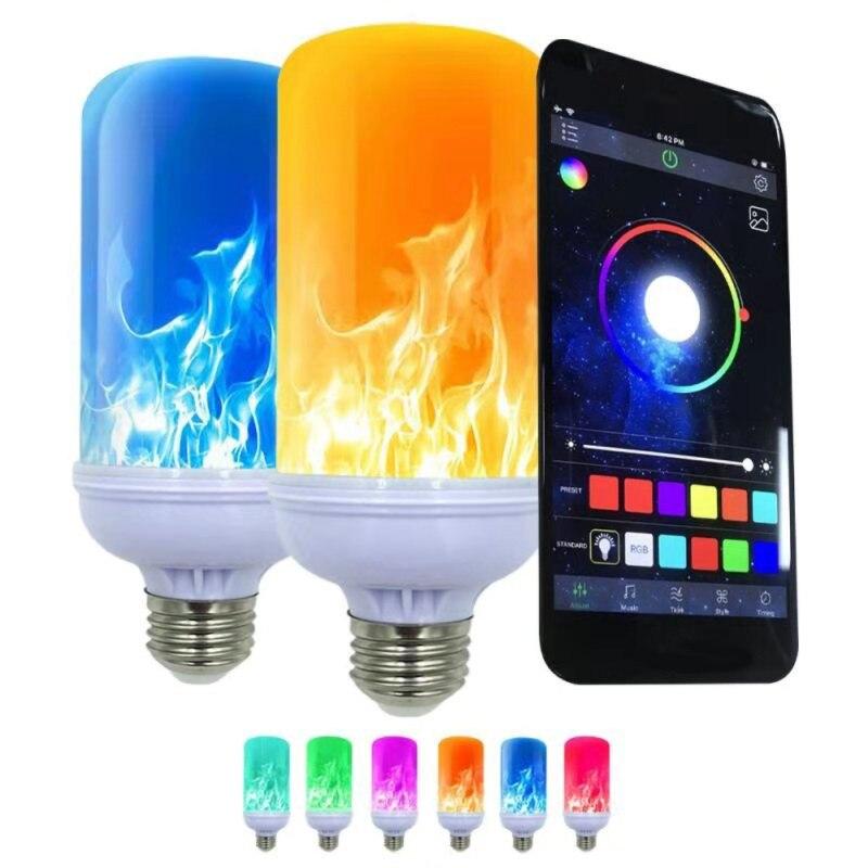 App inteligente led efeito de chama lâmpada 4 modos com efeito de cabeça para baixo 2 pacote e26 bases decoração festa - 2
