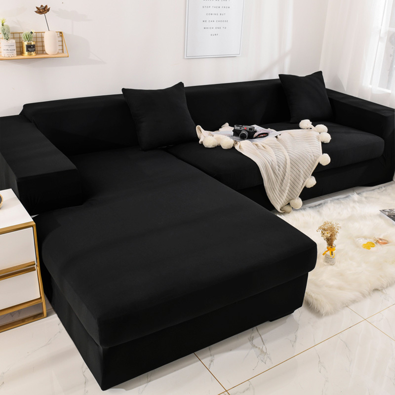 L Shape Need 2 Pieces Solid Corner Sofa Covers For Living Room Elastic Spandex Slipcovers Couch Cover Stretch Sofa Towel