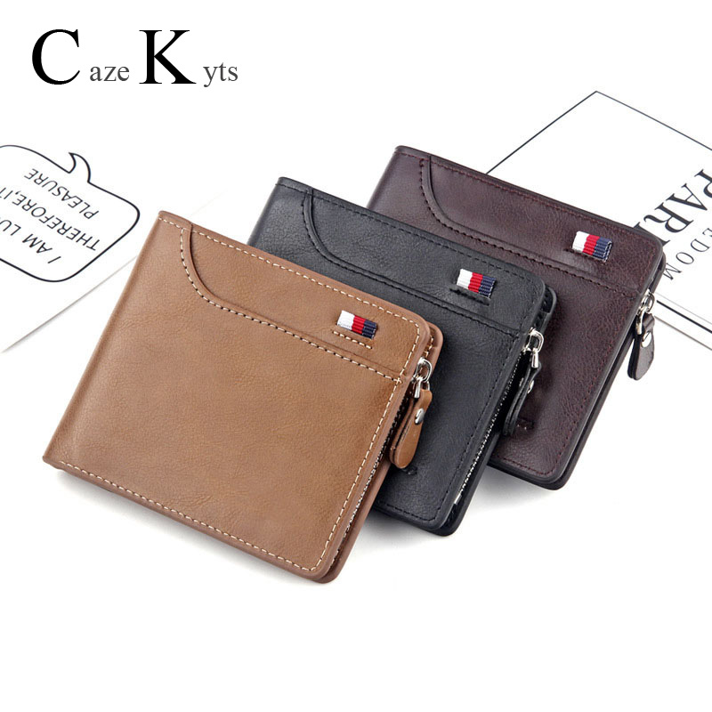 New Men's Short Wallet Retro Casual Cross Card Bag Multi-function Wallet Zipper Bag Leather  Purse
