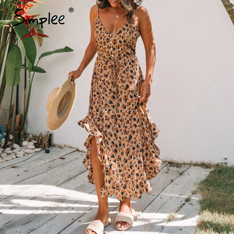 Simplee Leopard Print Women Dress Sexy Sleeveless Ruffled High Waist Summer Dress V-neck Buttons Beach Wear Holiday Dress 2020