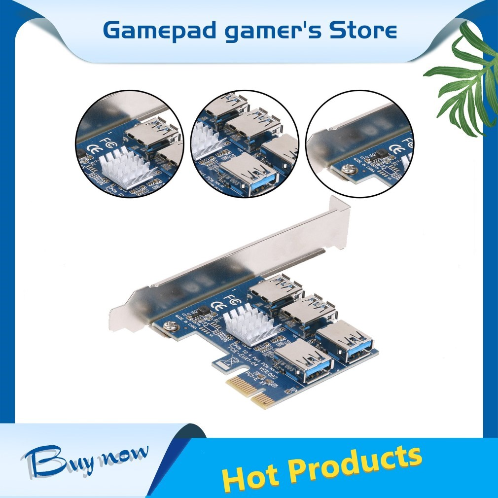PCIe One To Four PCI Express 16X Slots Riser Card PCI-E 1X To External 4 PCI-e Slot USB 3.0 Riser Card